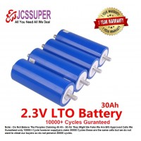 JCSSUPER 2.3V 66160H 30AH LTO Battery Lithium Titanate Oxide Cylindrical upto 20000 Cycles Car Ebike Solar Inverter